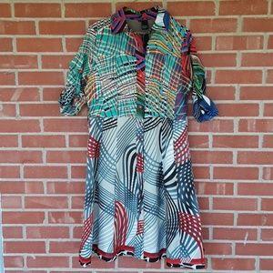 Desigual retro 70s fit and flare dress size 42 / L
